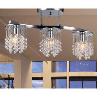 Silver Orchid Hessling Chrome 22-inch 3-light Crystal Chandelier
