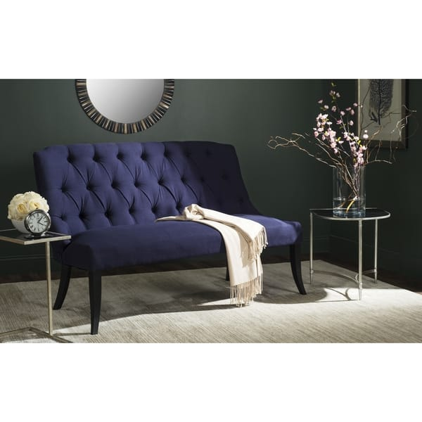 Swell Shop Safavieh Valerie Navy Blue Settee 0 On Sale Free Ncnpc Chair Design For Home Ncnpcorg