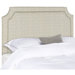 Safavieh Shayne Wheat/ Pale Blue Pattern Upholstered Headboard - Silver Nailhead (Full)