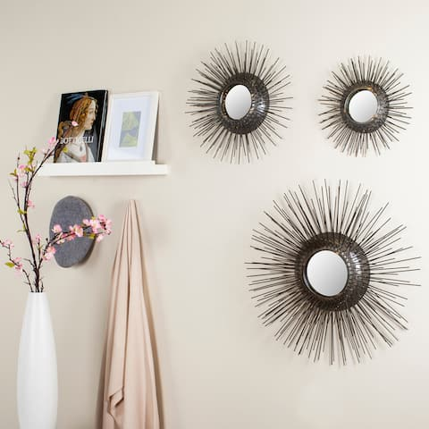 "Safavieh Triptych Gold Sunburst 28-inch Decorative Mirror (Set of 3) - L: 25"" M: 17"" S: 12"""