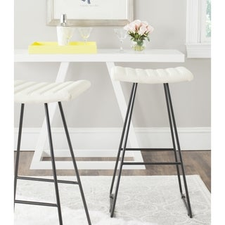 Safavieh Mid-Century Dining Akito Modern Cream 30-inch Bar Stool (Set of 2)