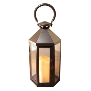 Black Hexagon Metal Lantern with LED Candle and Timer