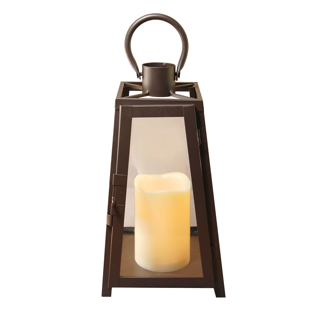 Metal Lantern with LED Candle Warm Black Tapered