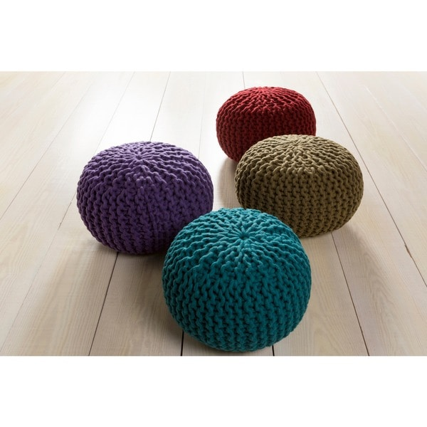 Solid Beth Round Wool 20-inch Pouf