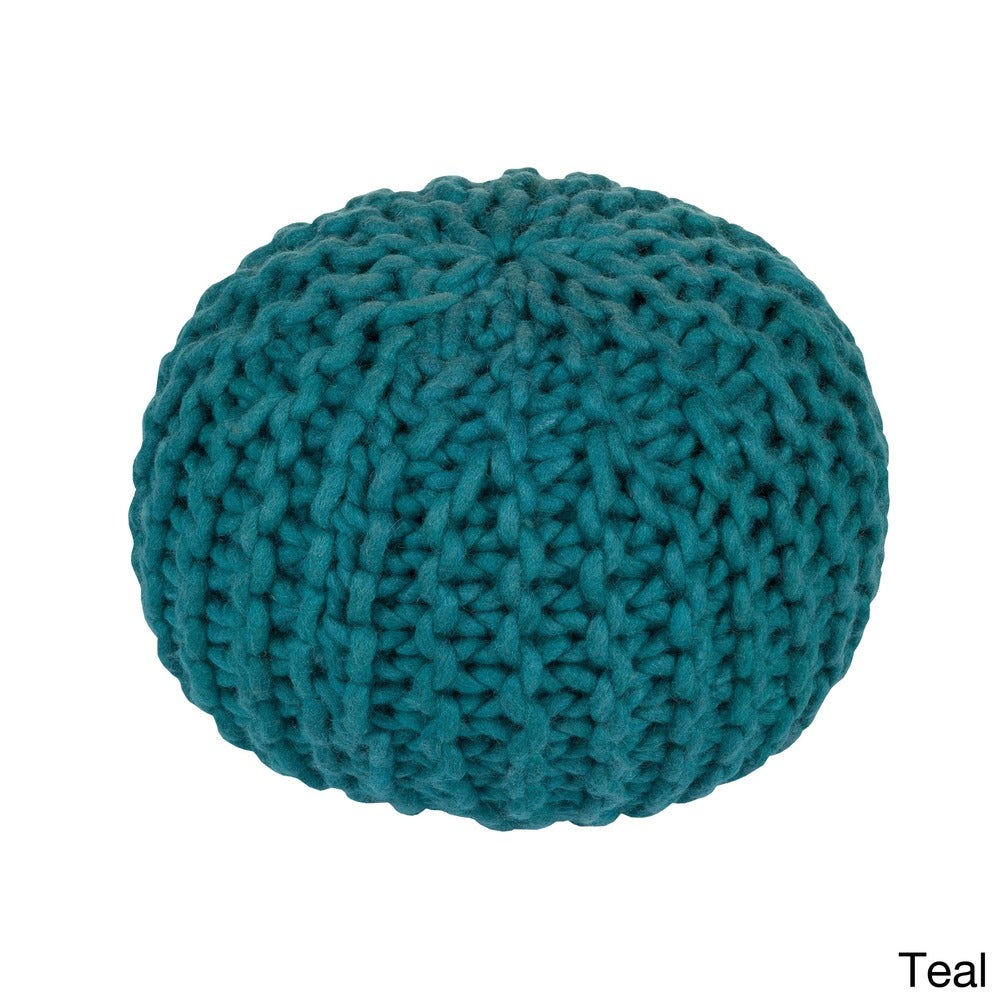 Shop Solid Beth Round Wool 20-inch Pouf - 10405681