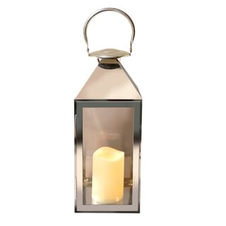 Metal Lantern with LED Candle Traditional Chrome