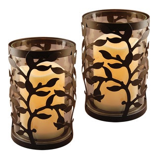 Round Warm Black Vine Metal Lanterns with Timer (Set of 2)