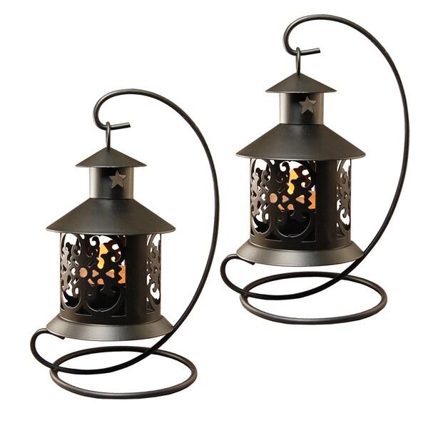 Copper Grove Derrick Black Metal Tabletop Lantern (Set of 2)