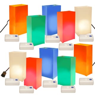 Electric Multi-colored Luminaria Kit with Lumabases (Pack of 10)
