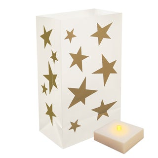 Battery Operated Stars Luminaria Kit with Timer (Set of 6)