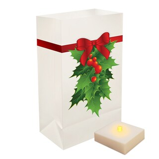 Battery Operated Holly Luminaria Kit with Timer (Set of 6)