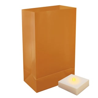 Battery Operated Tan Luminaria Kit with Timer (Set of 6)