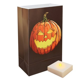Battery Operated Jack O' Lantern Luminaria Kit with Timer (Set of 6)