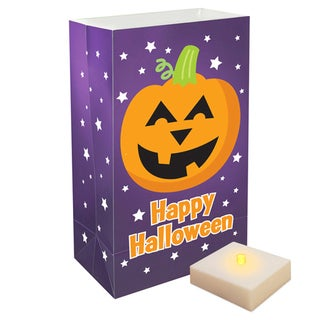 Battery Operated Luminaria Kit Pumpkin with Timer (Set of 6)