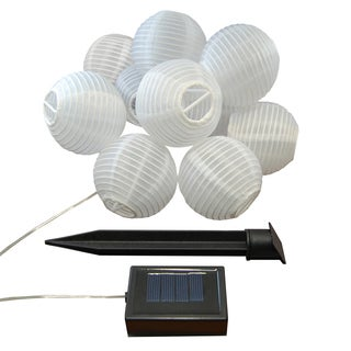 Solar Powered String Light with 3-inch White Nylon Lanterns (Set of 10)