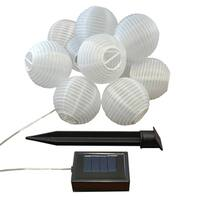 Solar Powered String Light with 3-inch White Nylon Lanterns (Set of 10)