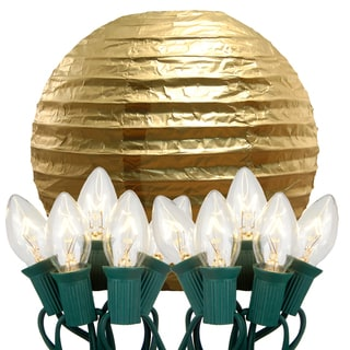 Electric String Lights with Paper Lanterns Gold Set of 10)