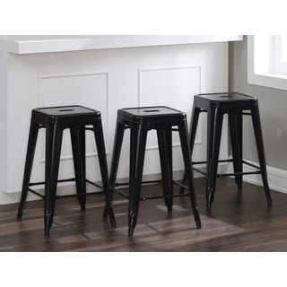 Tabouret 24-inch Black Metal Counter Stool (Set of 3)