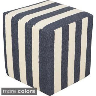 Striped Bath Square 16-inch Pouf