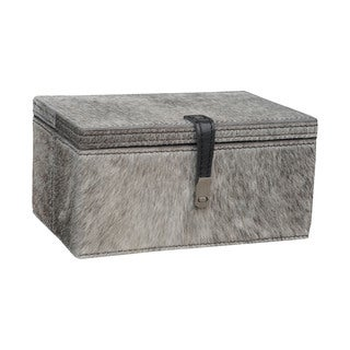 Dimond Home Small Grey Hair on Leather Box