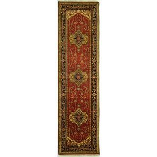 Handmade Elegant Red/ Black Border Serapi Runner Heriz Wool Rug (3' x 10')