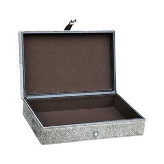 Dimond Home Large Grey Hair on Leather Box