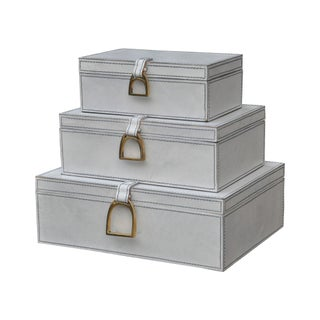 Dimond Home Set of 3 Nested White Leather Boxes - N/A