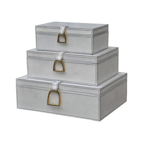 Dimond Home Set of 3 Nested White Leather Boxes