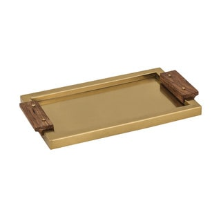 Dimond Home Brass Tray with Wood Handles