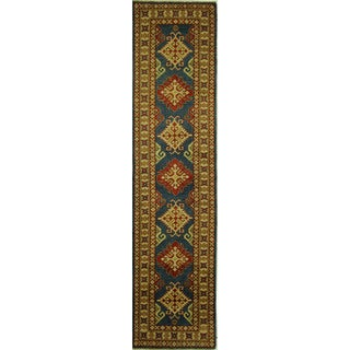 Hand-knotted New Geometric Super Kazak Runner Blue Oriental Wool Rug (3' x 11')