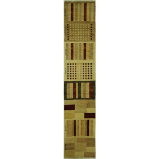 Hand-knotted Gabbeh Multicolor Runner Oriental Chobi Wool Area Rug (3' x 11')
