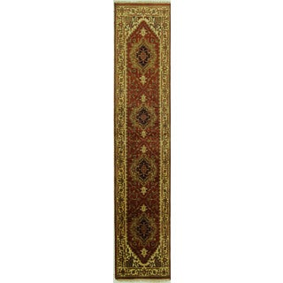 Hand-knotted Mesa Collection Heriz Serapi Runner Red Wool Area Rug (3' x 13')