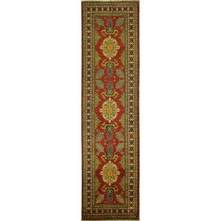 Hand-knotted Tribal Collection Red Super Kazak Runner Wool Area Rug (3' x 11')