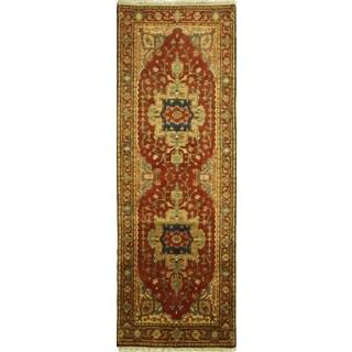 Hand-knotted Exclusive Carnelian Red Runner Heriz Serapi Wool Rug (3' x 8')
