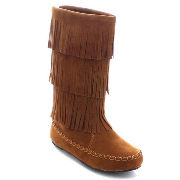 Betani Denise-1 Girls' Knee High Moccasin Fringe Boots - Free ...