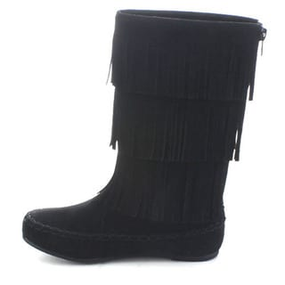 Betani Denise-1 Girls' Knee High Moccasin Fringe Boots