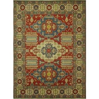 Hand-knotted Exquisite Antique Wash Floral Super Kazak Wool Area Rug (10' x 13')