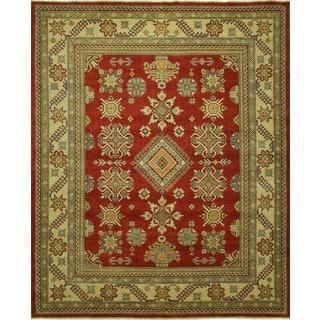 Hand-knotted Diamond Motif Wool Red Pakistani Super Kazak Area Rug (9' x 12', 9' x 10')