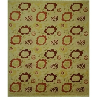 Hand-knotted Traditional Ivory Gabbeh Floral Double Knotted Wool Rug (9' x 10')