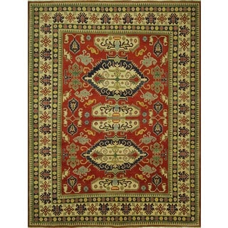 Hand-knotted Unique Oriental Red Pakistani Super Kazak Wool Area Rug (9' x 12', 9' x 10')