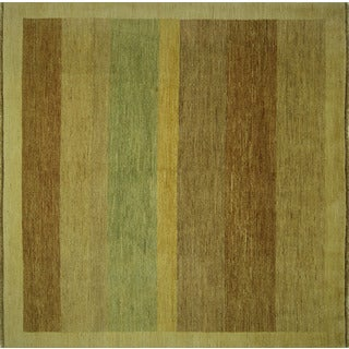 Hand-knotted New Double Knotted Mute Colors Square Gabbeh Wool Area Rug (7', 7' x 7')