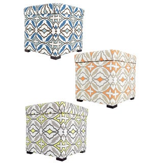 The Sole Secret Contemporary Square Ikat print Storage Ottoman