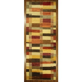 Hand-knotted Antique Wash Multicolor Super Fine Gabbeh Wool Area Rug (8' x 14')