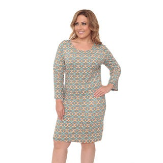 White Mark Women's Plus Size Orange Metrix Printed Dress
