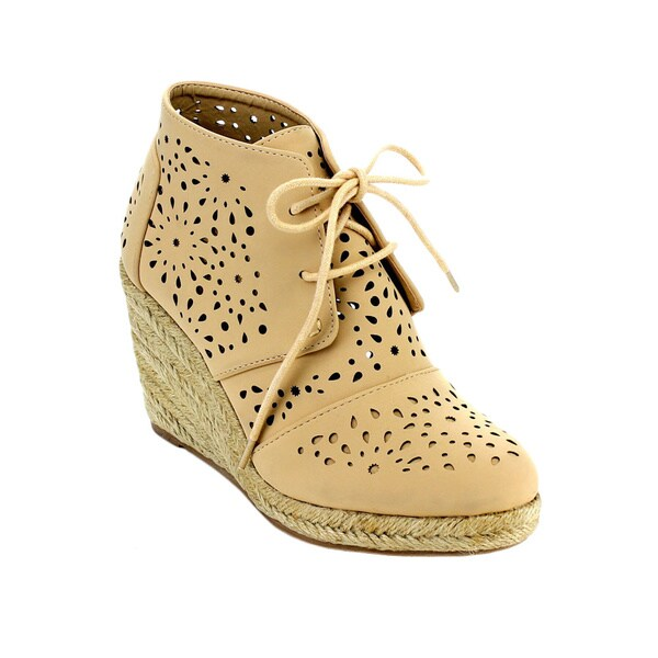 FAHRENHEIT COSMO-04 Women's Stylish Hollow Out Lace Up Espadrilles Sneakers