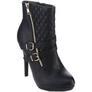 Spirit Moda Edith-3 Women's Stiletto Heel Buckle Platform Ankle Booties