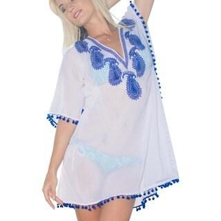 La Leela Beachwear Bikini Swimwear Sheer Lightweight Chiffon Swimsuit Cover up Tank Blue will easily complement any look.