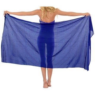 La Leela 100-percent Cotton MATCH UP With SWIMSUIT Plain Basic Sarong US 2X Blue