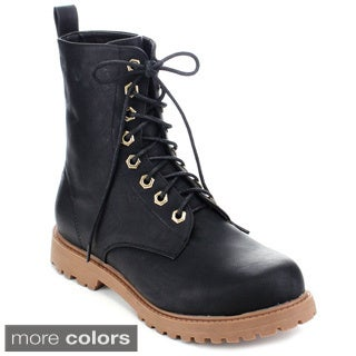 Spirit Moda Edna-1 Women's Combat Style Lace Up Ankle Booties