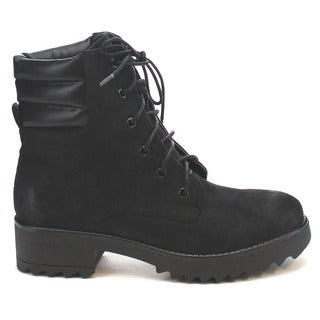 MI.IM SNAZZY-04 Women's Comfort Lace Up Lug Sole Short Stacked Working Booties